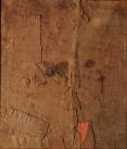 """Alberto Burri, """"Sacco L.A.,"""" 1953: burlap and acrylic on canvas, 39 5/16 x 33 7/8 inches (101 x 87 cm), inv. 5337 - © Fondazione Palazzo Albizzini Collezione Burri, Città di Castello – by SIAE 2016"""