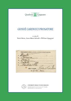 """Copertina anteriore del volume """"Giosuè Carducci prosatore"""""""
