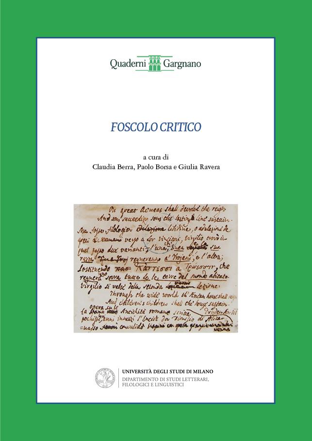 """In copertina: Livorno, Biblioteca Labronica """"F.D. Guerrazzi"""", Fondo Foscolo, vol. XXVIII, c. 140r"""