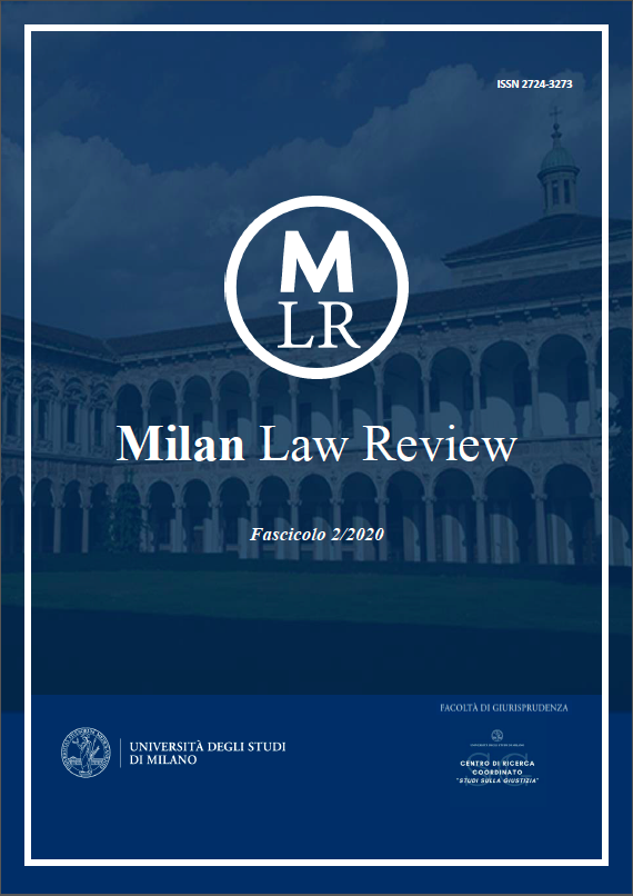 Visualizza V. 1 N. 2 (2020): Milan Law Review